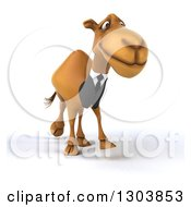 Clipart Of A 3d Business Camel Walking Slightly To The Right Royalty Free Illustration