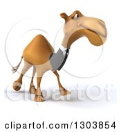 Clipart Of A 3d Business Camel Walking Slightly To The Right 2 Royalty Free Illustration