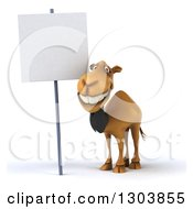 Clipart Of A 3d Business Camel Smiling By A Blank Sign Royalty Free Illustration