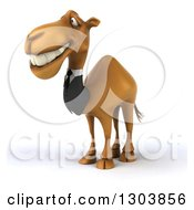 Clipart Of A 3d Business Camel Smiling And Facing To The Left Royalty Free Illustration