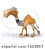 Clipart Of A 3d Business Camel Walking To The Left Royalty Free Illustration