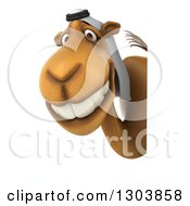 Clipart Of A 3d Arabian Camel Facing Left And Looking Around A Sign Royalty Free Illustration