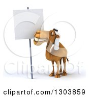 Clipart Of A 3d Arabian Camel Smiling And Looking At A Blank Sign Royalty Free Illustration