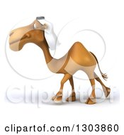Clipart Of A 3d Arabian Camel Walking To The Left Royalty Free Illustration