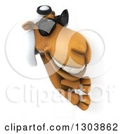 Clipart Of A 3d Arabian Camel Wearing Sunglasses And Looking Around A Sign Royalty Free Illustration