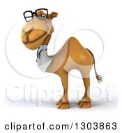 Clipart Of A 3d Bespectacled Doctor Camel Facing Left Royalty Free Illustration