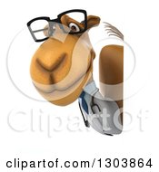 Clipart Of A 3d Bespectacled Doctor Camel Facing Left And Looking Around A Sign Royalty Free Illustration