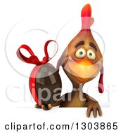 Clipart Of A 3d Brown Chicken Holding A Chocolate Easter Egg Over A Sign Royalty Free Illustration