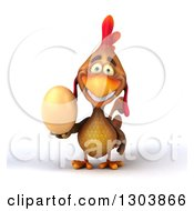 Clipart Of A 3d Happy Brown Chicken Holding An Egg Royalty Free Illustration