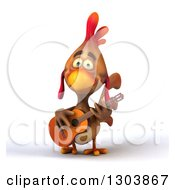 Clipart Of A 3d Brown Chicken Playing A Guitar Royalty Free Illustration