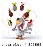 Clipart Of A 3d White Chicken Wearing Sunglasses Facing Slightly Left And Juggling Chocolate Easter Eggs Royalty Free Illustration