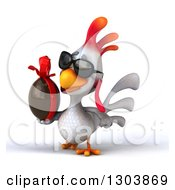 Clipart Of A 3d White Chicken Wearing Sunglasses Facing Left And Holding A Chocolate Easter Egg Royalty Free Illustration