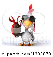 Clipart Of A 3d White Chicken Wearing Sunglasses And Holding A Chocolate Easter Egg Royalty Free Illustration