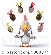 Clipart Of A 3d White Chicken Juggling Chocolate Easter Eggs Royalty Free Illustration