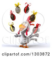 Clipart Of A 3d White Chicken Facing Slightly Left And Juggling Chocolate Easter Eggs Royalty Free Illustration