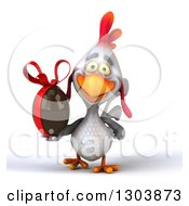 Clipart Of A 3d White Chicken Walking And Holding A Chocolate Easter Egg Royalty Free Illustration