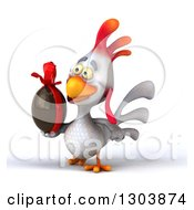 Clipart Of A 3d White Chicken Facing Slightly Left And Holding A Chocolate Easter Egg Royalty Free Illustration
