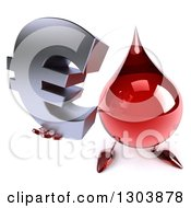 Clipart Of A 3d Hot Water Or Blood Drop Character Holding Up A Euro Symbol Royalty Free Illustration