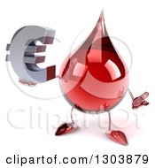 Clipart Of A 3d Hot Water Or Blood Drop Character Shrugging And Holding A Euro Symbol Royalty Free Illustration