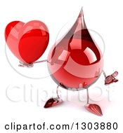 Clipart Of A 3d Hot Water Or Blood Drop Character Gesturing And Holding A Heart Royalty Free Illustration