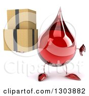 Clipart Of A 3d Hot Water Or Blood Drop Character Holding Boxes And A Thumb Down Royalty Free Illustration