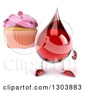 Clipart Of A 3d Hot Water Or Blood Drop Character Holding A Pink Frosted Cupcake Royalty Free Illustration