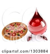 Clipart Of A 3d Hot Water Or Blood Drop Character Holding Up A Pizza Royalty Free Illustration