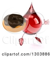 Clipart Of A 3d Hot Water Or Blood Drop Character Facing Slightly Right Jumping And Holding A Chocolate Frosted Donut Royalty Free Illustration