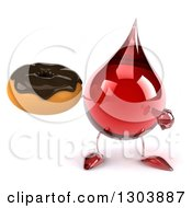 Clipart Of A 3d Hot Water Or Blood Drop Character Holding And Pointing To A Chocolate Frosted Donut Royalty Free Illustration