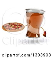 Clipart Of A 3d Beer Mug Character Holding A Pizza Royalty Free Illustration