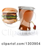 Clipart Of A 3d Beer Mug Character Holding A Double Cheeseburger Royalty Free Illustration