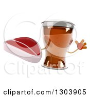 Clipart Of A 3d Beer Mug Character Jumping With A Beef Steak Royalty Free Illustration