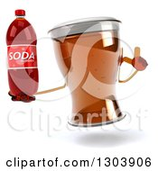 Clipart Of A 3d Beer Mug Character Holding Up A Finger And Soda Bottle Royalty Free Illustration