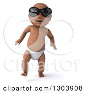 Clipart Of A 3d Black Baby Boy Wearing Sunglasses And Walking Forward Royalty Free Illustration