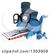 Clipart Of A 3d Happy Bespectacled Blue Fish Facing Left And Reading A Book Royalty Free Illustration