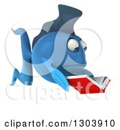 Clipart Of A 3d Blue Fish Facing Right And Reading A Book Royalty Free Illustration