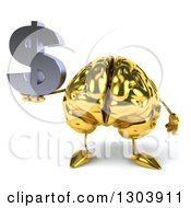 Clipart Of A 3d Gold Brain Character Holding A Dollar Symbol Royalty Free Illustration