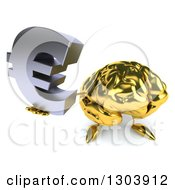 Clipart Of A 3d Gold Brain Character Holding Up A Euro Symbol Royalty Free Illustration