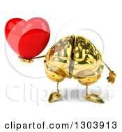 Clipart Of A 3d Gold Brain Character Holding A Love Heart Royalty Free Illustration