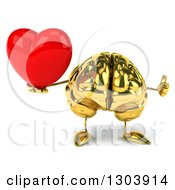 Clipart Of A 3d Gold Brain Character Giving A Thumb Up And Holding A Love Heart Royalty Free Illustration