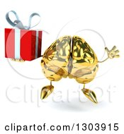 Clipart Of A 3d Gold Brain Character Jumping And Holding A Gift Royalty Free Illustration