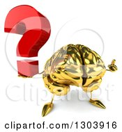 Clipart Of A 3d Gold Brain Character Holding Up A Question Mark And A Finger Royalty Free Illustration