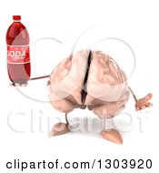 Clipart Of A 3d Brain Character Shrugging And Holding A Soda Bottle Royalty Free Illustration