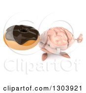 Clipart Of A 3d Brain Character Holding Up A Thumb And A Chocolate Frosted Donut Royalty Free Illustration