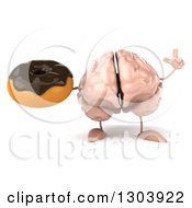 Clipart Of A 3d Brain Character Holding Up A Finger And A Chocolate Frosted Donut Royalty Free Illustration