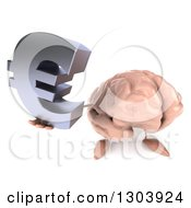 Clipart Of A 3d Brain Character Holding Up A Euro Symbol Royalty Free Illustration