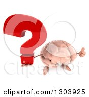 Clipart Of A 3d Brain Character Holding Up A Thumb And A Question Mark Royalty Free Illustration