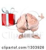 Clipart Of A 3d Brain Character Holding Up A Finger And A Gift Royalty Free Illustration