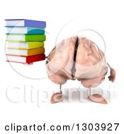 Clipart Of A 3d Brain Character Holding A Stack Of Books Royalty Free Illustration