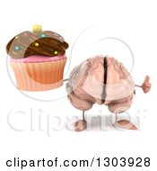 Clipart Of A 3d Brain Character Holding Up A Chocolate Frosted Cupcake And A Thumb Up Royalty Free Illustration